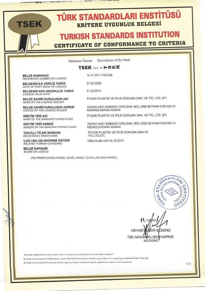 Certificate Of Conformity To Turkish Standards
